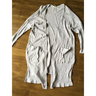 ジーユー(GU)のGU ジーユー ガウン カーディガン グレー S ワッフル 綿 羽織りカジュアル(カーディガン)