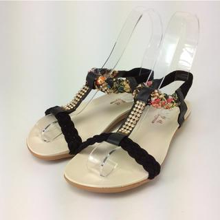 ボヘミア風 花柄 ビジューサンダル ブラック 25.0㎝ 6501391601(サンダル)