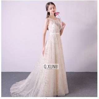 カラードレス  薄シャンパンの色  上質オーガンジー  スパンコール  ビジュー(ミディアムドレス)