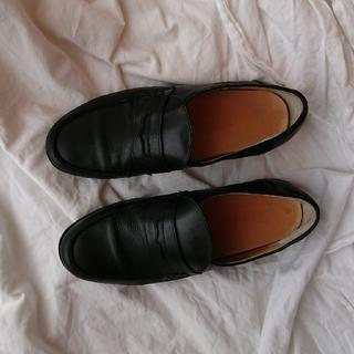 本革ローファー  黒 イタリア製 38 (24.5cm) 細身(ローファー/革靴)