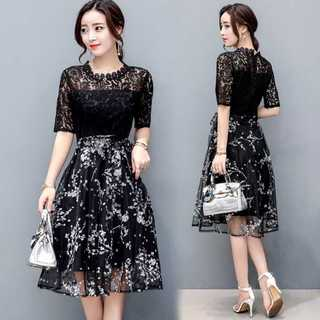 パーティーに☆ フラワー模様のミディ丈 モノトーンのドレス(ミディアムドレス)