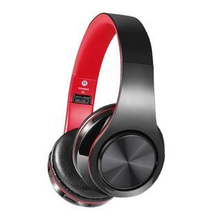 ★即日発送★ Bluetoothヘッドホン 折りたたみ可能 赤色(ヘッドフォン/イヤフォン)