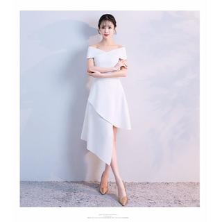 ウエディングドレス   ホワイト   ポリエステル   オフショル   スレンダ(ミディアムドレス)