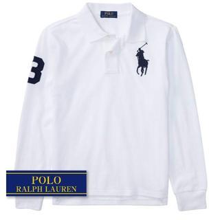 ラルフローレン(Ralph Lauren)の☆新品☆140 ラルフローレン 長袖コットンラグビーシャツ ホワイト 0912(Tシャツ/カットソー)
