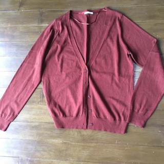 ジーユー(GU)のGU ジーユー S Vネック カーディガン  ブラウン 茶 薄手 羽織り バイラ(カーディガン)