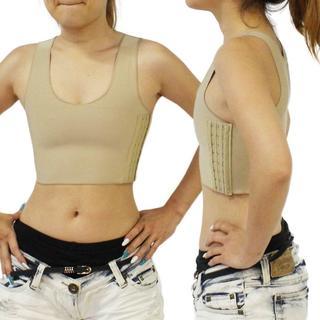 ○しっかり抑えられる○ 胸を小さく見せるブラ ハーフタンクトップ型 肌色S(タンクトップ)