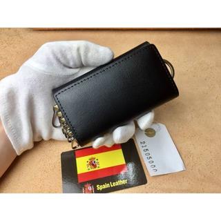 革 ハンドメイド キーケース 6連 メンズ レディース プレゼント  ブラック (コインケース)