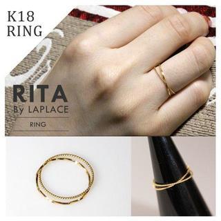 K18 2連 極細リング ピンキーリング(リング(指輪))
