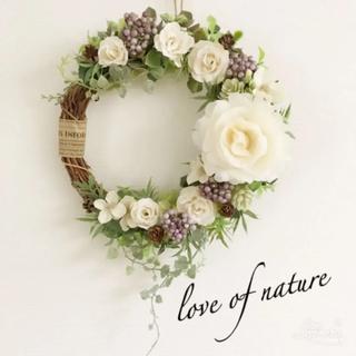【再々再販】春色♡ローズ×紫陽花のナチュラルリース*・゜・*:.。..。.:*・