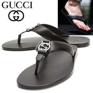 グッチ(Gucci)の【7】GUCCI 18SS ブラック レザートングサンダル size 7(サンダル)