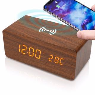 目覚まし時計 置き時計 おしゃれ 温度計【木目調/ワイヤレス充電 搭載】(置時計)