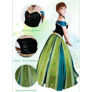 b131f153260f8 大きいサイズ XL~2XLサイズ アナと雪の女王 ロングドレス コスプレ(衣装