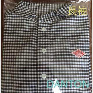 ダントン(DANTON)のダントン  プルオーバーシャツ 長袖 ブラックギンガム  サイズ36  美品(シャツ/ブラウス(長袖/七分))