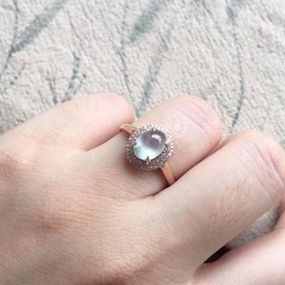 180 k18ゴールドリング 翡翠リング ダイヤモンドリング 指輪 ピンクゴー(リング(指輪))