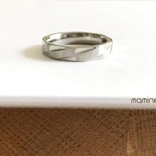 16号サイズ ステンレス製 カットリング スクエア 艶消し 指輪(リング(指輪))