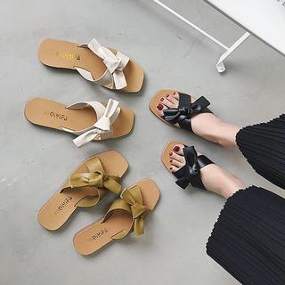 サンダル レディース ミュール 靴 ビーチサンダル フラットシューズ ぺたんこ(サンダル)