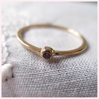 ピンクゴールドリング  1.5mm石フクリン留め(リング(指輪))