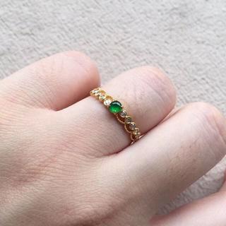 183 k18ゴールドリング 翡翠リング ダイヤモンドリング 指輪 ピンクゴー(リング(指輪))