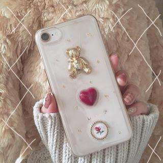 〈ハンドメイド〉くま×パールiPhoneケース(スマホケース)