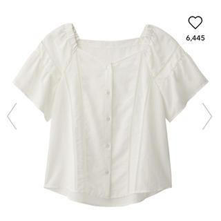 ジーユー(GU)のGU ハシゴレースブラウス 半袖 XL ホワイト(シャツ/ブラウス(半袖/袖なし))