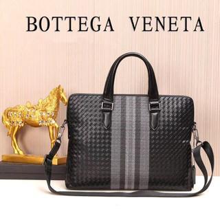 ボッテガヴェネタ(Bottega Veneta)のボッテガヴェネタ ビジネスバッグ編み込みブラック人気バッグメンズ通勤通学(ビジネスバッグ)