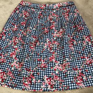 アリスバーリー(Aylesbury)のアリスバーリー ギンガムチェック 膝下 タック スカート 美品(ひざ丈スカート)
