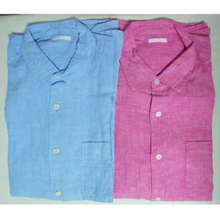 ジーユー(GU)の新品GUジーユー*麻リネン100%シャツ2枚セット/Lブルー&ピンク(シャツ)