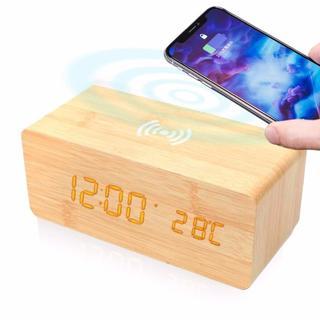 目覚まし時計 置き時計 おしゃれ 温度計【ナチュラル/ワイヤレス充電 搭載】(置時計)