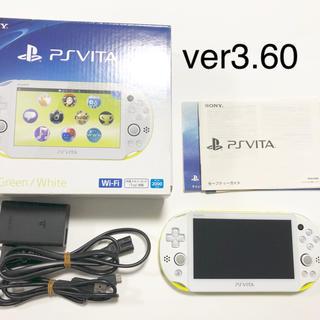 プレイステーションヴィータ(PlayStation Vita)の【極美品】FW3.60 vita 2000 ライムグリーン 付属品完備(携帯用ゲーム本体)