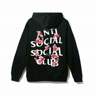 アンチ(ANTI)のAnti Social Club パーカー 花柄 XL 黒 ユニセックス(パーカー)