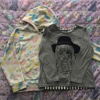 シマムラ(しまむら)の120cm女の子春服2点セットパーカー長袖カットソー(Tシャツ/カットソー)