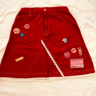 mezzo piano - メゾピアノ ワッペンの可愛い赤いスカート 150