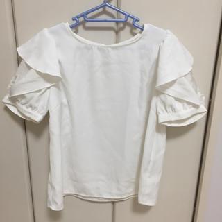 シマムラ(しまむら)のブラウス フリル オーガンジー ホワイト(シャツ/ブラウス(半袖/袖なし))