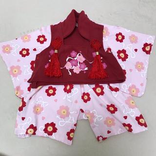 女の子 被布付き 着物風 袴ロンパース ピンク 桜 さくら 70(和服/着物)