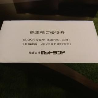 ホットランド株主優待券500円×30枚(フード/ドリンク券)