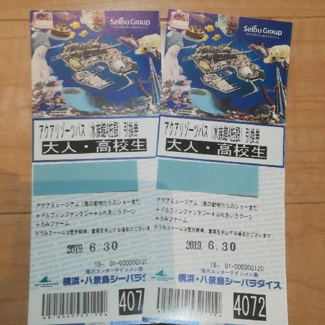 八景島シーパラダイス アクアリゾーツパス引換券 大人2枚 チケットの施設利用券(水族館)の商品写真