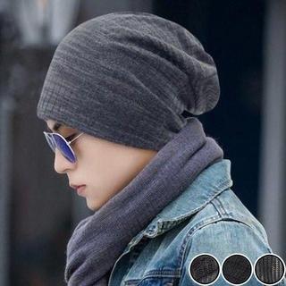 ニット帽 ビーニー オールシーズン ガーゼ ロールアップワッチ 縦横縞 グレー(ニット帽/ビーニー)
