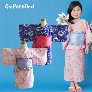 アンパサンド(ampersand)のちょうちょ柄♡アンパサンド浴衣 ピンク ワンピース 105~115cm(甚平/浴衣)