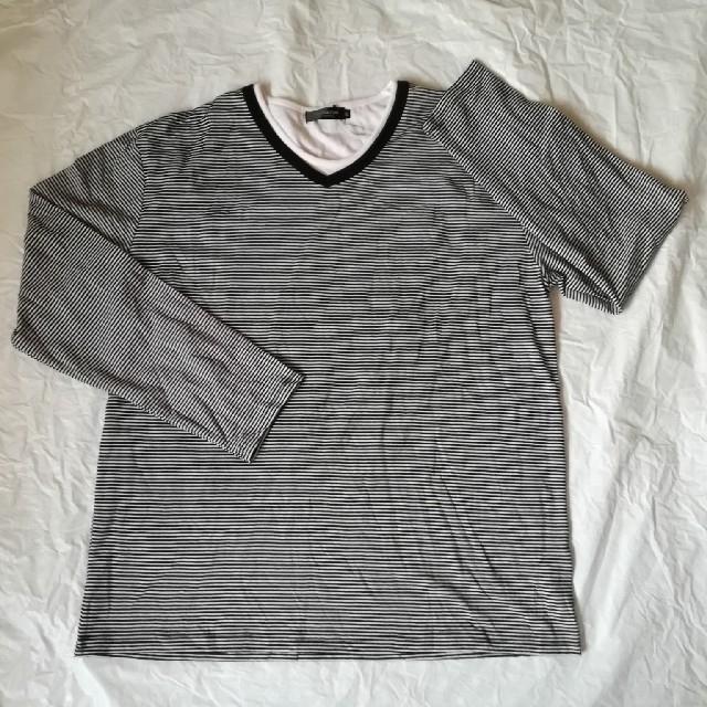 しまむら(シマムラ)のVネック重ね着風 ボーダーロンT 4L ブラック メンズのトップス(Tシャツ/カットソー(七分/長袖))の商品写真
