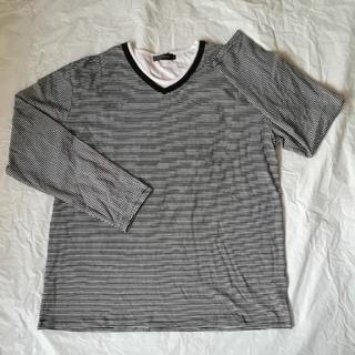 シマムラ(しまむら)のVネック重ね着風 ボーダーロンT 4L ブラック(Tシャツ/カットソー(七分/長袖))
