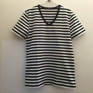 ノーアイディー(NO ID.)のNO ID.     VネックボーダーTシャツ  美品(Tシャツ/カットソー(半袖/袖なし))