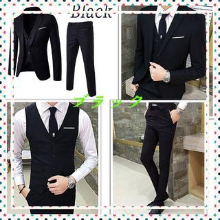 (9014)さん専用 スーツ 3点セット 春夏 細身 ブラック サイズ: S(セットアップ)