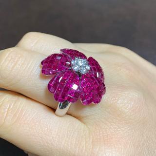 ★値下げ★豪華 美品 ミャンマールビー  ダイヤモンド リング(リング(指輪))