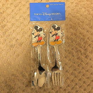ディズニー(Disney)のミッキーマウス スプーン&フォークセット(食器)