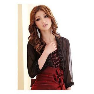 『新品』XL(大きいサイズ)黒シフォンの七分袖ボレロ(ボレロ)