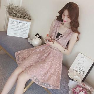 【セット販売確認ページ】レース ノースリーブ ピンク ワンピース ドレス(ひざ丈ワンピース)
