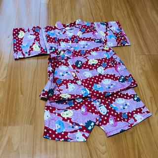 シマムラ(しまむら)の【新品・タグ付】サンリオ 赤 甚平 巾着付き(甚平/浴衣)