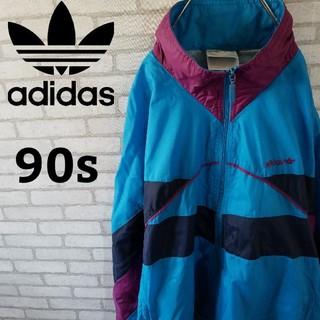 アディダス(adidas)の薄手☆【90s】アディダス マルチカラー ナイロンジャケット Lサイズ (ナイロンジャケット)