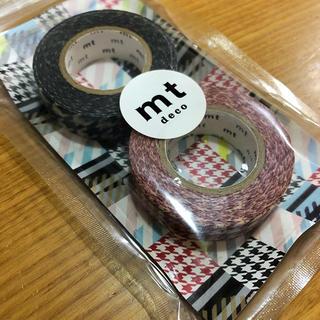エムティー(mt)のmt マスキングテープ  千鳥格子 黒 赤 幅1.5cm 15m(テープ/マスキングテープ)