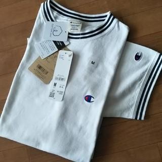 チャンピオン(Champion)の◎新品◎ChampionリブラインクルーネックTシャツ  /白/M(Tシャツ/カットソー(半袖/袖なし))